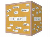 Allergies 3D Cube Corkboard Word Concept