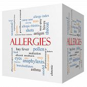 stock photo of anaphylaxis  - Allergies 3D cube Word Cloud Concept with great terms such as food pollen mold and more - JPG