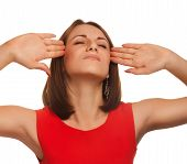 woman stress headaches put his head red dress