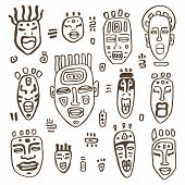 image of african mask  - African Masks set - JPG