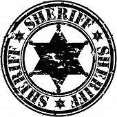 foto of gunslinger  - Grunge sheriff star rubber stamp - JPG