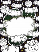 stock photo of counting sheep  - Frame Illustration Featuring a Flock of Sheep for Counting - JPG