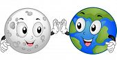 Mascot Illustration Featuring the Moon and the Earth Doing a High Five