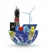stock photo of courtesy  - half of an earth globe with various energy sources symbols - JPG