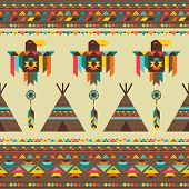 foto of wigwams  - Ethnic seamless pattern in native style - JPG