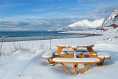 picture of tromso  - Beach covered by snow in a winter sunny day  - JPG