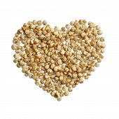 stock photo of quinoa  - Quinoa heart isolated on white background close up - JPG