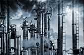 foto of smog  - giant oil and gas refinery - JPG