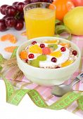 image of lenten  - Delicious oatmeal with fruit in bowl on table close - JPG