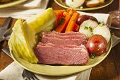stock photo of st patty  - Homemade Corned Beef and Cabbage with Potatoes and Carrots - JPG