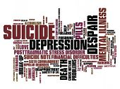 stock photo of suicide  - Suicide and depression issues and concepts word cloud illustration - JPG