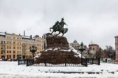 pic of hetman  - Historic monument to Hetman Bogdan Khmelnitsky on Sofia square in Kiev Ukraine - JPG