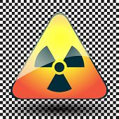 foto of biological hazard  - Radiation hazard warning sign on a triangular table on black and white background - JPG