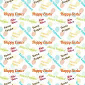 picture of pasqua  - Seamless colorful pattern wishing Happy Easter in 6 languages - JPG