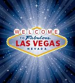 stock photo of roulette table  - vector las vegas sign over the night star burst - JPG