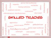 image of pipefitter  - Skilled Trades Word Cloud Concept on a Whiteboard with great terms such as plumber welding mason and more - JPG