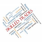picture of pipefitter  - Skilled Trades Word Cloud Concept angled with great terms such as plumber welding mason and more - JPG