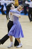 Minsk-belarus, February, 9: Unidentified Dance Couple Performs Juvenile-1 Standard European Program