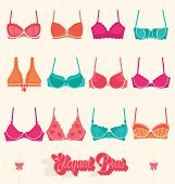 picture of bustiers  - Collection of vintage style flat bra and bustier vectors - JPG