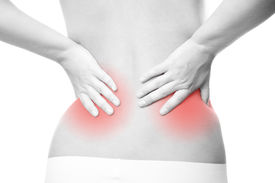 stock photo of sick kidney  - Pain in the lower back - JPG