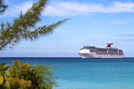 pic of cruise ship  - Cruise ship in the clear blue Caribbean ocean with greenery in the foreground - JPG