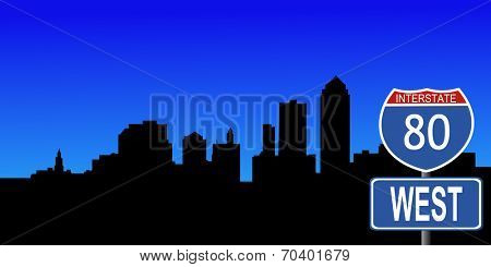 Des Moines skyline with interstate 80 sign vector illustration