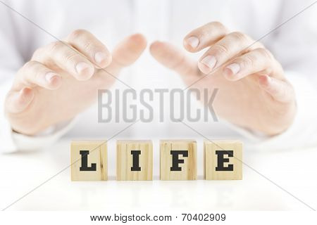 Nurturing Hands Of A Man Cupped Over The Word Life