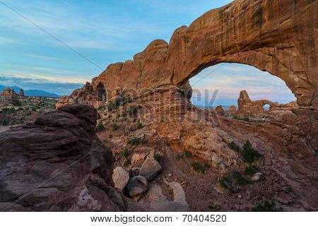 Beautiful Sunrise Over Turret Arch Through North Window