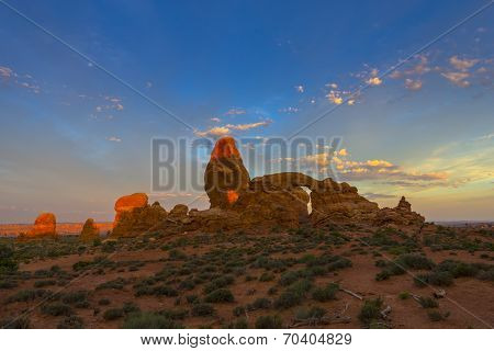 Beautiful Sunrise Sky Over Turret Arch