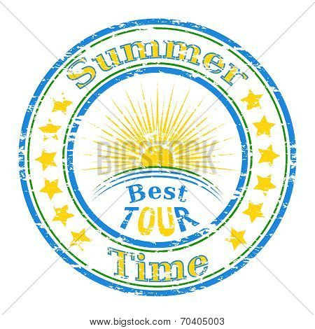 Vector Illustration Of The Grunge Rubber Stamp With Sun And The Text Summer Time Written Inside The