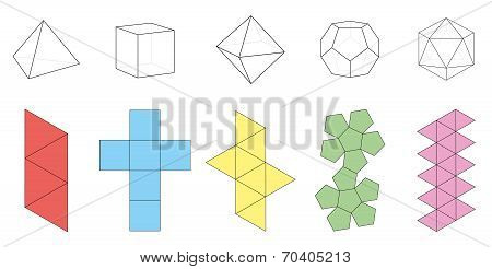 Platonic Solids Figures Nets