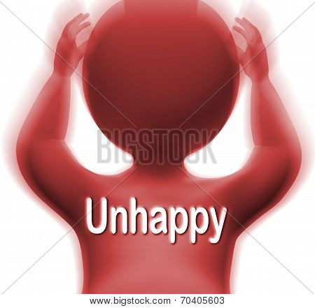 Unhappy Man Shows Sad Depressed Or Upset