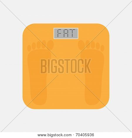 Bathroom Floor Electronic Weight Scale With Word Fat. Flat Design Style.