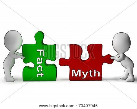 Fact Myth Puzzle Shows Fact Or Mythology