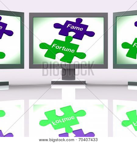Fame Fortune Puzzle Screen Shows Celebrity Or Well Off