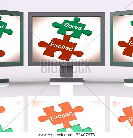 Bored Excited Puzzle Screen Means Exciting And Fun Or  Boring