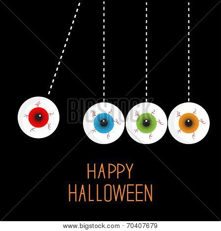 Hanging Eyeballs With Bloody Streaks. Perpetual Motion. Happy Halloween Black Card. Flat Design Styl