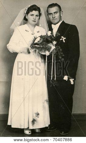 SIERADZ, POLAND, SEPTEMBER 20, 1959 - vintage photo of newlyweds