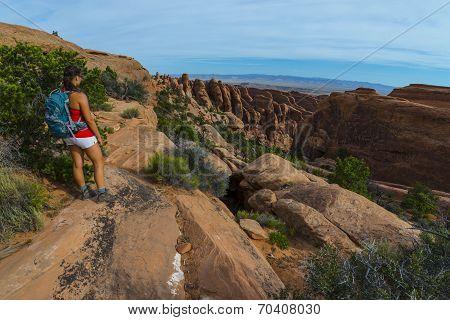 Female Hiker Stading On A Devils Garden Trail