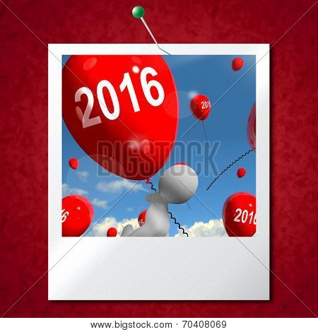 Two Thousand Sixteen On Balloons Photo Shows Year 2016