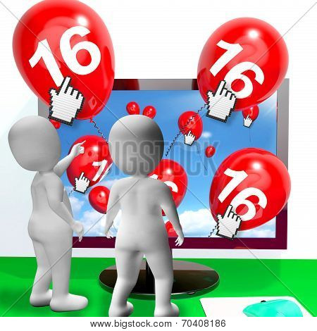 Number 16 Balloons From Monitor Show Internet Invitation Or Celebration