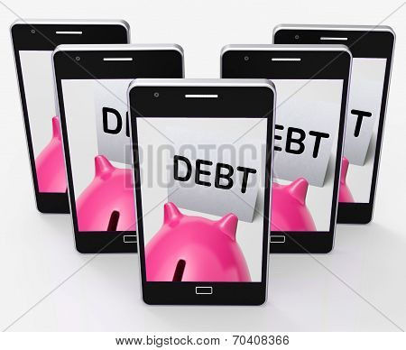 Debt Piggy Bank Means Loan Arrears And Paying Off