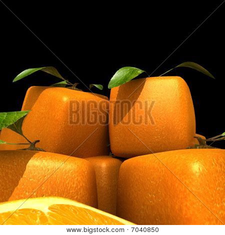 Heap Of Cubic Oranges On Black