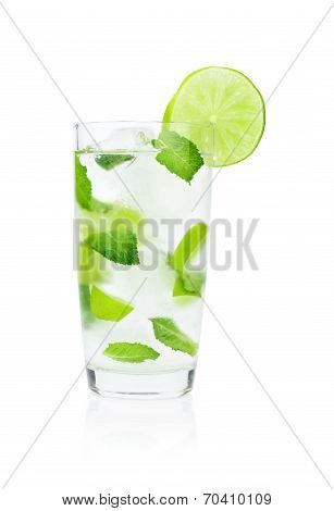 Mojito Drink In Dewy Glass,cold Water,ice Cubes,mint And Limes