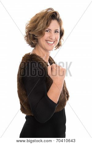 Isolated Middle Aged Woman Making Fist - Happy About Her Success.