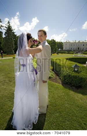 Groom And Bride In Luxury Background