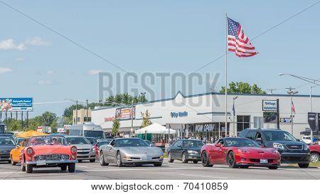 Corvettes And Thunderbird, Woodward Dream Cruise