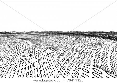 Digitally generated binary code landscape on white background