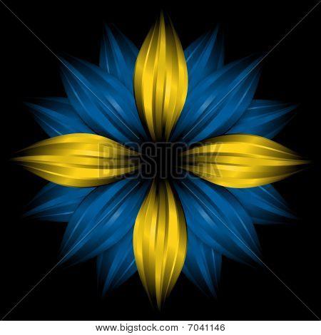 Flower With Sweden Flag Colors On Black