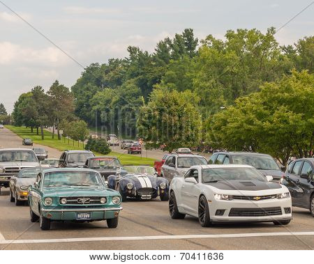 Mustang, Shelby Ac Cobra, And Camaros, Woodward Dream Cruise